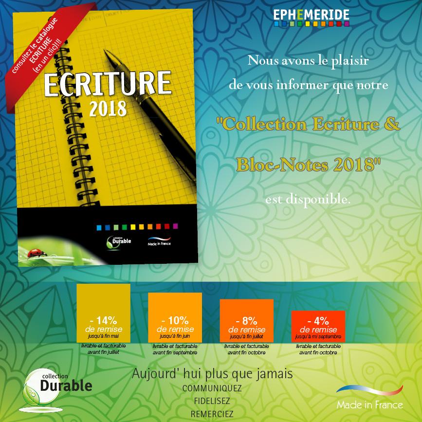 Catalogue-Collection- Bloc-Notes-Ecriture-2018-Ephemeride-Edition